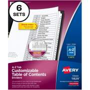 Avery Ready Index A-Z 26 Tab Dividers, Customizable TOC, 6 Sets (11829)