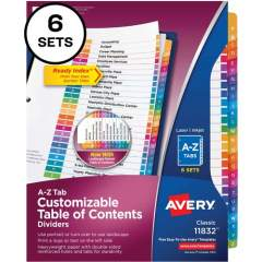 Avery Ready Index A-Z 26 Tab Dividers, Customizable TOC, 6 Sets (11832)