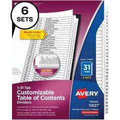 Avery Avery Ready Index 31 Tab Dividers, Customizable TOC, 6 Sets (11827)