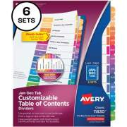 Avery Ready Index 12 Tab Dividers, Customizable TOC, 6 Sets (11830)