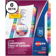 Avery Avery Ready Index 31 Tab Dividers, Customizable TOC, 6 Sets (11831)
