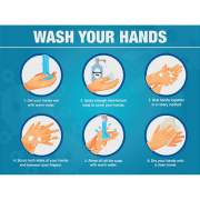 Lorell WASH YOUR HANDS 6 Steps Sign (00255)