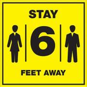 Lorell Stay 6 Feet Away Bright Yellow Sign (00257)