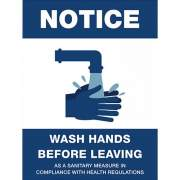 Lorell NOTICE Wash Hands Before Leaving Sign (00256)