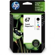 HP 67 Original Ink Cartridge - Tri-color, Black (3YP29AN)