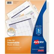 Avery Big Tab(TM) Insertable Plastic Dividers, 5-Tab Set, Clear (11835)
