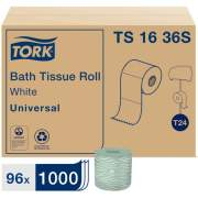 Tork Conventional Toilet Paper Roll White T24, Universal, 1-ply, 96 x 1000 sheets, TS1636S