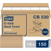 Tork C-Fold Hand Towel, White, H25, Universal, Disposable, 100% Recycled Fibers, 1-Ply, 16 x 150 Sheets - CB530