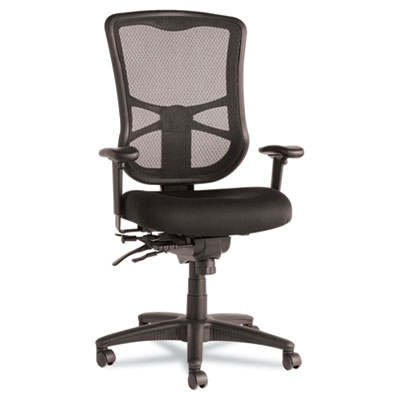 Alera Elusion Series Mesh High-Back Multifunction Chair, Supports up to 275 lbs., Black Seat/Black Back, Black Base (ALEEL41ME10B)