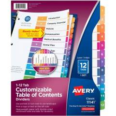 Avery Ready Index 12 Tab Dividers, Customizable TOC, 1 Set (11141)