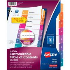 Avery Ready Index 8 Tab Dividers, Customizable TOC, 1 Set (11133)