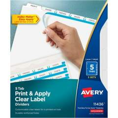 Avery Print & Apply Clear Label Dividers - Index Maker Easy Apply Label Strip (11436)
