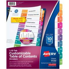 Avery Ready Index 10 Tab Dividers, Customizable TOC, 1 Set (11135)
