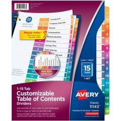 Avery Ready Index 15 Tab Dividers, Customizable TOC, 1 Set (11143)