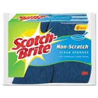Scotch-Brite Non-Scratch Multi-Purpose Scrub Sponge, 4 2/5 x 2 3/5, Blue, 6/Pack (526-5)