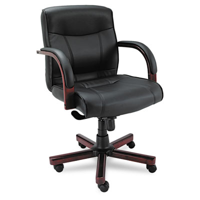 Alera Madaris Series Mid-Back Knee Tilt Leather Chair with Wood Trim, Supports up to 275 lbs., Black Seat/Back, Mahogany Base (ALEMA42LS10M)