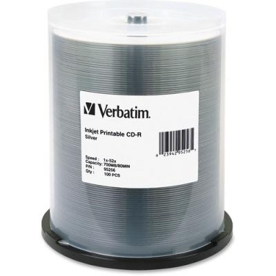 Verbatim CD-R 700MB 52X DataLifePlus Silver Inkjet Printable - 100pk Spindle (95256)