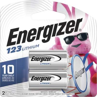 Energizer 123 Batteries, 2 Pack (EL123APB2)
