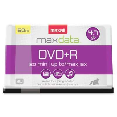 Maxell DVD Recordable Media - DVD+R - 16x - 4.70 GB - 50 Pack Spindle (639013)