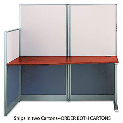 Bush Straight Workstation (Box 1 of 2) Office-in-an-Hour, 64.5w x 32.25d x 63h, Hansen Cherry (WC36492A1-03)