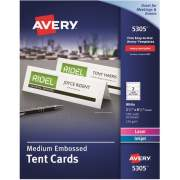 "Avery Printable Tent Cards, Embossed, Uncoated, Two-Sided Printing, 2-1/2"" x 8-1/2"", 100 Cards (5305)"
