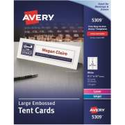 "Avery Printable Large Tent Cards, Embossed, Two-Sided Printing, 3-1/2"" x 11"", 50 Cards (5309)"