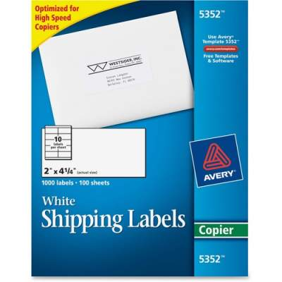 """Avery Shipping Labels for Copiers, Permanent Adhesive, 2"""" x 4-1/4"""", 1,000 Labels (5352)"""