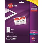 "Avery Self-Laminating ID Cards, 2"" x 3-1/4"", 30 Cards (5361)"