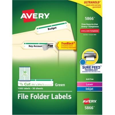 Avery TrueBlock(R) File Folder Labels, Sure Feed(TM) Technology, Permanent Adhesive, Green, 2/3
