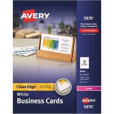 Avery Clean Edge(R) Business Cards, Uncoated, Two-Sided Printing, 2