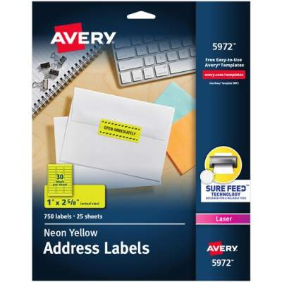 Avery Neon Laser Labels, Rectangle, 1 x 2-5/8, Fluorescent Yellow, 750/Pack (5972)