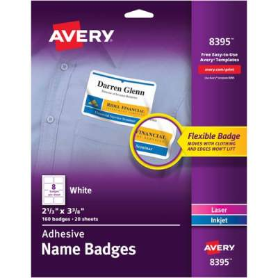 "Avery Premium Personalized Name Tags, Print or Write, 2-1/3"" x 3-3/8"", 160 Adhesive Tags (8395)"