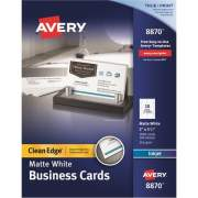 "Avery Clean Edge(R) Business Cards, True Print(R) Matte, Two-Sided Printing, 2"" x 3-1/2"", 1,000 Cards (8870)"