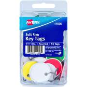 "Avery Key Tags, Split Ring, Assorted Colors, 1-1/4"" Diameter, 50 Tags (11026)"