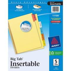 Avery Big Tab Insertable Dividers - Reinforced Gold Edge (11109)