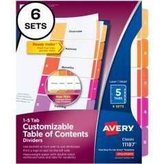 Avery Ready Index 5 Tab Dividers, Customizable TOC, 6 Sets (11187)