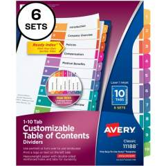 Avery Ready Index 10 Tab Dividers, Customizable TOC, 6 Sets (11188)