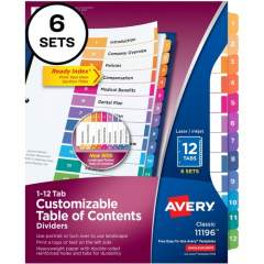 Avery Ready Index 12 Tab Dividers, Customizable TOC, 6 Sets (11196)