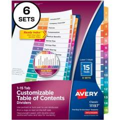 Avery Ready Index 15 Tab Dividers, Customizable TOC, 6 Sets (11197)