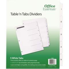 Avery Table 'n Tabs(R) Dividers with White Tabs, 1-5 Tab, 1 Set (11666)