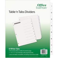 Avery Table 'n Tabs(R) Dividers with White Tabs, 1-8 Tab, 1 Set (11668)