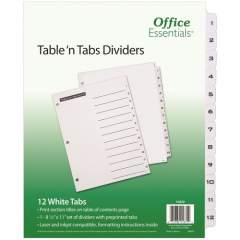Avery Table 'n Tabs(R) Dividers with White Tabs, 1-12 Tab, 1 Set (11672)