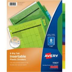 Avery Big Tab(TM) Insertable Plastic Dividers, 8-Tab Set, Multicolor (11901)