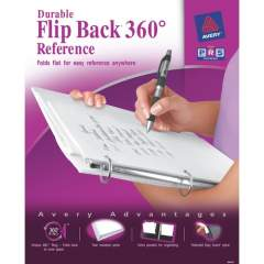"Avery Flip Back 3 Ring Binder, 1"" Round Rings, 1 White Binder (17580)"