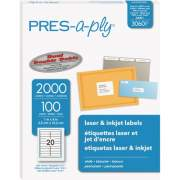 "PRES-a-ply White Labels, 1"" x 4"" , Permanent-Adhesive, 20-up, 2000 labels (30601)"