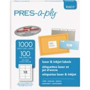 "PRES-a-ply White Labels, 2"" x 4"" , Permanent-Adhesive, 10-up, 1000 labels (30603)"