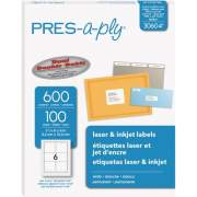 "PRES-a-ply White Labels, 3-1/3"" x 4"" , Permanent-Adhesive, 6-up, 600 labels (30604)"