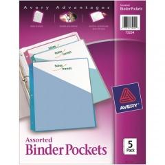 "Avery Binder Pockets, Assorted Colors, 8.5"" x 11"" , Acid-Free, Durable, 5 Slash Jackets (75254)"
