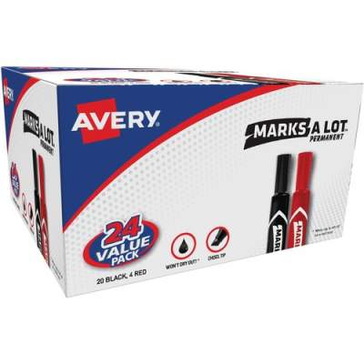 Avery Marks A Lot(R) Permanent Markers, Regular Desk-Style Size, Chisel Tip, 24 Assorted Markers (98187)