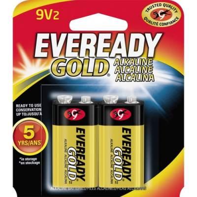 Energizer Eveready Gold Alkaline 9-Volt Batteries (A522BP-2)
